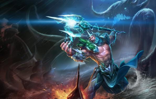 Картинка оружие, монстр, трезубец, Посейдон, Poseidon, бог морей, god of the seas
