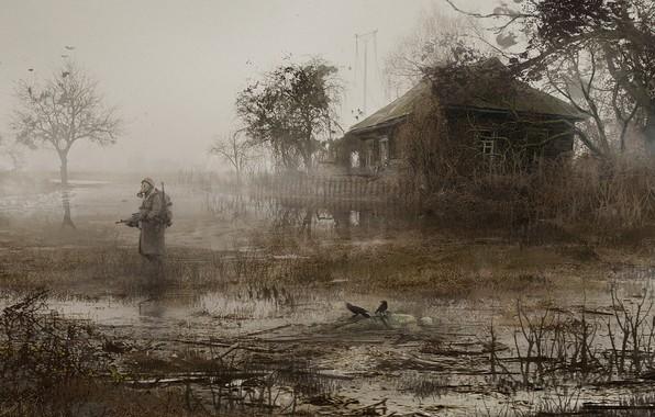 Картинка Дом, Солдат, Сталкер, Припять, STALKER, Fog, Mac Rebisz, by Mac Rebisz