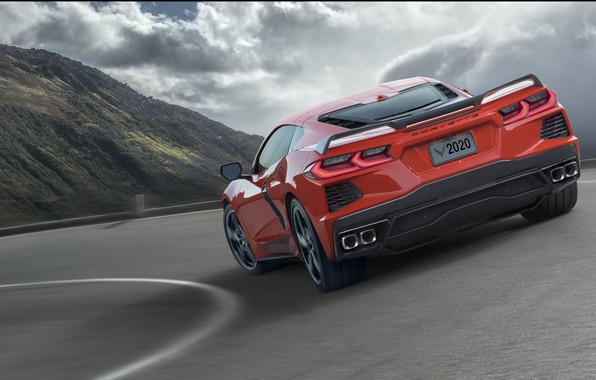 Картинка Дорога, Corvette, Chevrolet, Скорость, Stingray, 2020, Повар, Chevrolet Corvette ( C8 ) Stingray