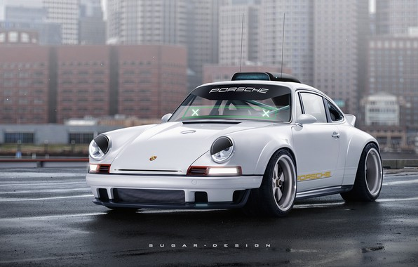 Картинка Авто, Город, Белый, 911, Porsche, Машина, Art, Передок, Singer, Transport & Vehicles, Porsche 911 Singer, …