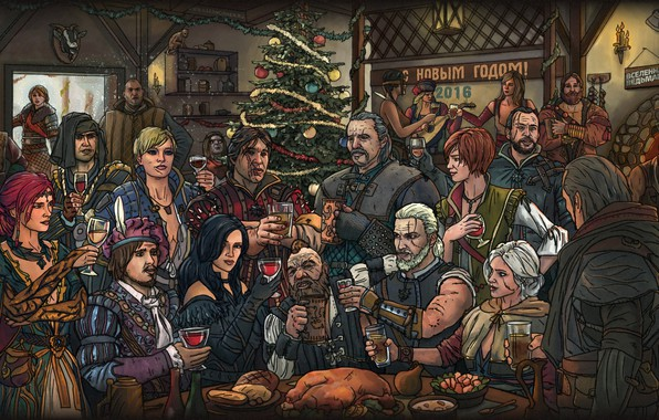 Картинка новый год, Геральт, The Witcher 3: Wild Hunt, Бьянка, The Witcher 3, Золтан, Ведьмак 3: …