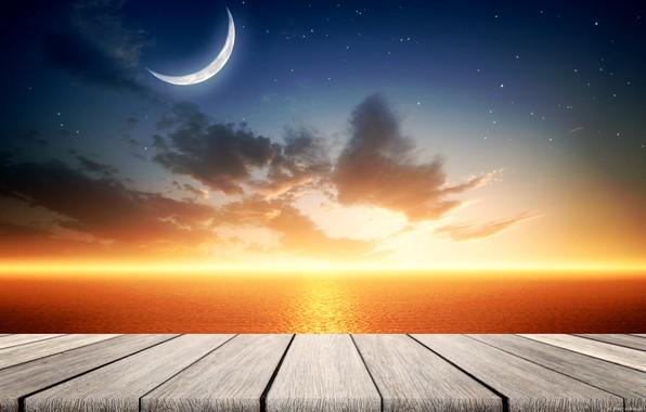 Картинка море, небо, луна, штиль, ремейк