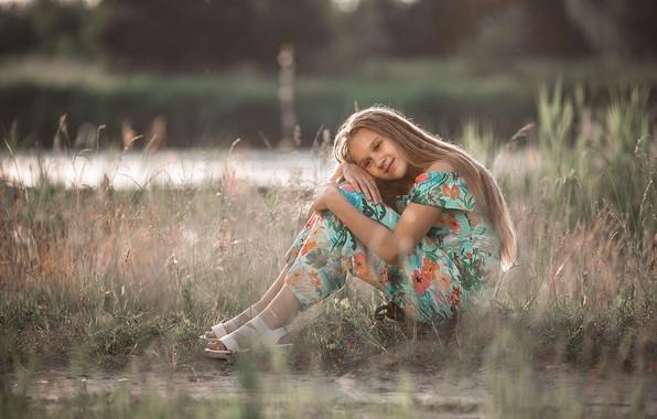 Картинка трава, вода, природа, платье, девочка, босоножки, русая, подросток, Владимир Васильев