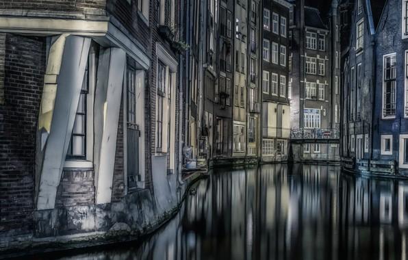 Картинка Amsterdam, Night, reflections, Buildings