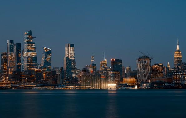 Картинка вода, ночь, city, город, огни, отражение, здания, дома, ночной город, night