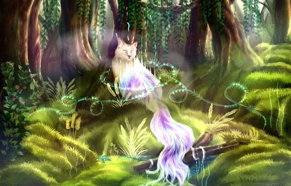 Картинка деревья, зеленая трава, мир фентези, мифическое животное, призрачный кот
