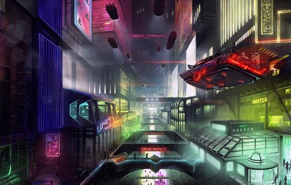 Картинка Город, Будущее, Неон, Машина, Фантастика, Neon, Cyber, Cyberpunk, Synth, Retrowave, Synthwave, Неоны, Futuresynth, Retro Futuristic