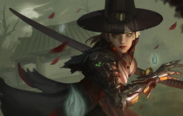 Картинка взгляд, листья, девушка, оружие, рука, шляпа, арт, киборг