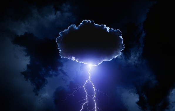 Обои гроза, небо, облака, ночь, тучи, молния