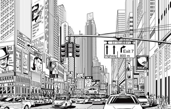 Картинка white, black, design, art, New York, lines, buildings