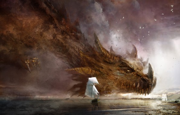 Картинка Море, Дракон, Корабли, Fantasy, Dragon, Art, Guild Wars 2, Фантастика, Daniel Dociu, Ship, Гигант, Dragons, ...