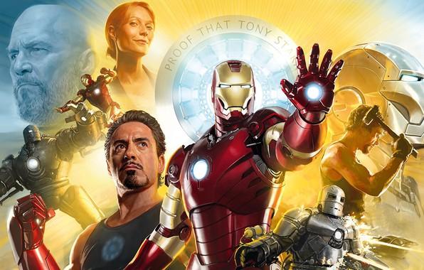 Картинка 2008, Art, Iron Man, Тони Старк, Железный Человек, Tony Stark, Gwyneth Paltrow, Pepper Potts, Rober …