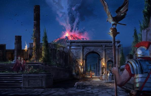 Картинка небо, ночь, орел, звёзды, вулкан, воин, извержение, легионер, Помпеи