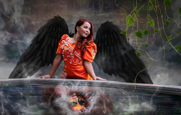 Картинка вода, девушка, крылья, ангел, маска, фотоарт