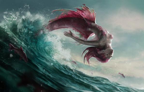 Картинка волны, рыбы, брызги, прыжок, русалка, чешуя, хвост, плавники, морская пена, розовые волосы, mermaid