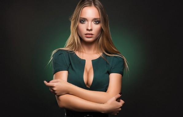 Фото обои грудь, девушка, платье, блондинка, Katty, Sergey Yakubitskiy