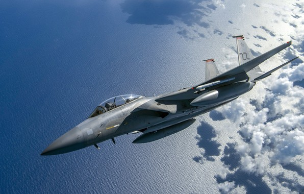 Картинка Море, Истребитель, USAF, Облока, F-15C Eagle