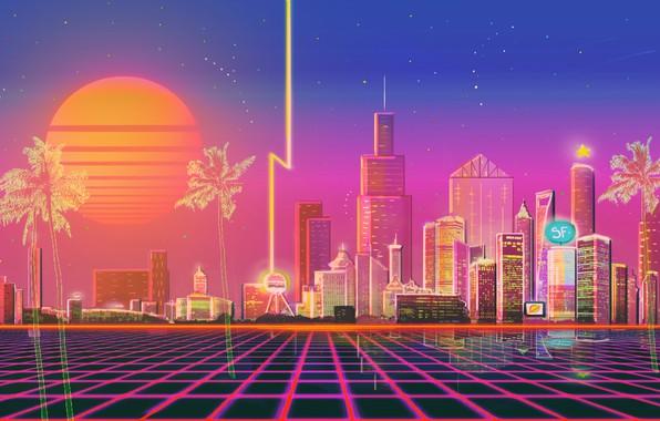 Картинка Солнце, Музыка, Город, Стиль, Фон, City, 80s, Style, Neon, Illustration, 80's, Synth, Retrowave, Synthwave, New …