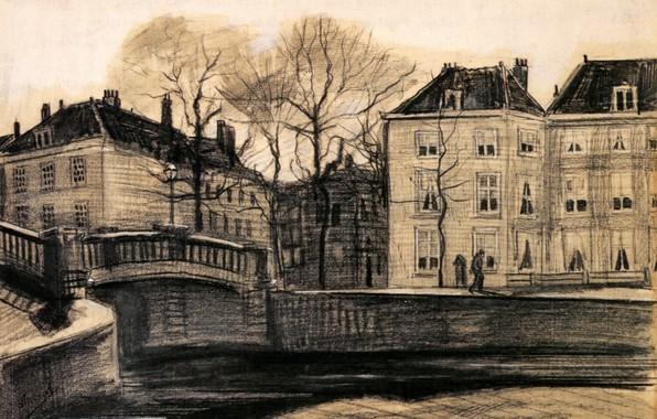 Картинка Drawings, Винсент ван Гог, The Hague, on the Corner of Herengracht-Prinsessegracht, Bridge and Houses