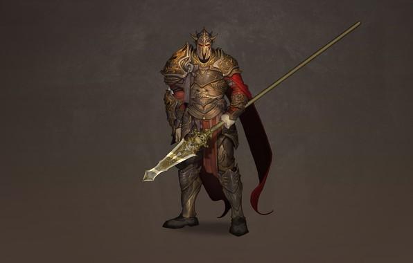 Картинка Art, Background, Illustration, Knight, Minimalism, Armor, Warlord, Spear, Dzhovanna Sallama, Partisane
