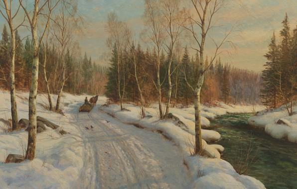 Картинка датский живописец, 1919, Петер Мёрк Мёнстед, Peder Mørk Mønsted, Danish realist painter, Sleigh ride on …