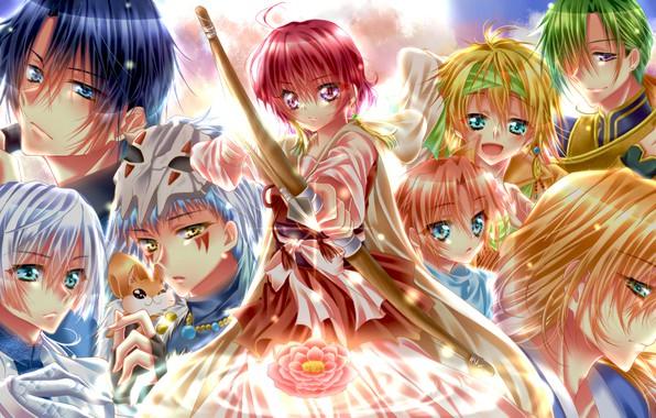 Картинка цветок, девушка, драконы, аниме, лук, арт, стрела, парни, персонажи, Рассвет Йоны, Akatsuki no Yona