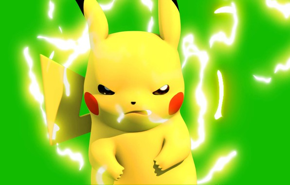 Картинка мышь, разряд, пикачу, электрический, покемон, pokemon, pikachu