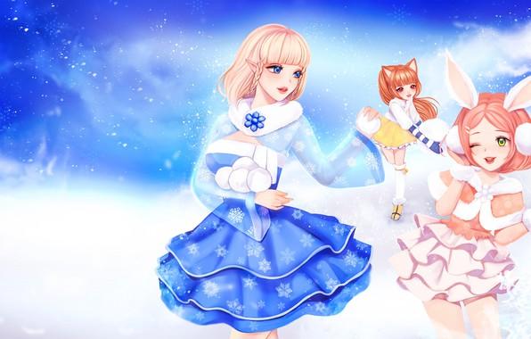 Картинка зима, игра, аниме, арт, снежки, TERA, No Name, (NN)