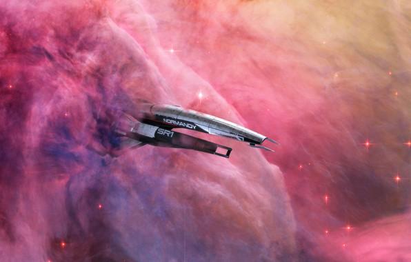 Картинка space, fantasy, nebula, science fiction, stars, sci-fi, galaxy, digital art, artwork, fantasy art, Spaceship, futuristic