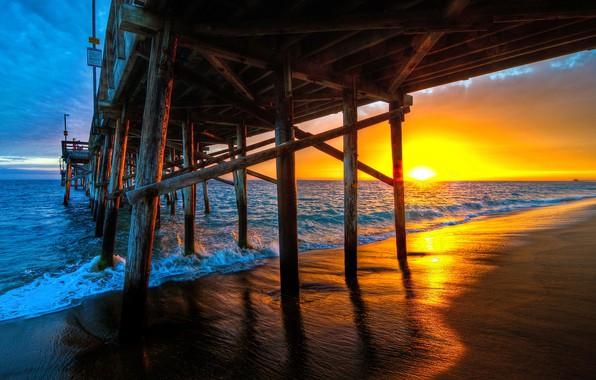 Картинка море, волны, закат, мост, фото, причал