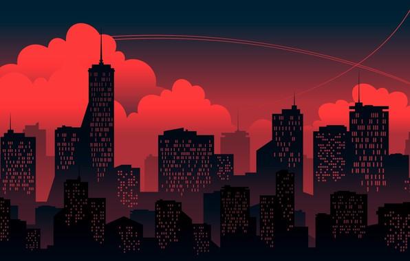 Картинка Закат, Красный, Облака, Минимализм, Город, Здания, Здание, Фон