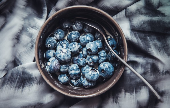 Картинка wallpaper, plate, food, macro, spoon, berries, breakfast, milk, blueberries, 4k ultra hd background