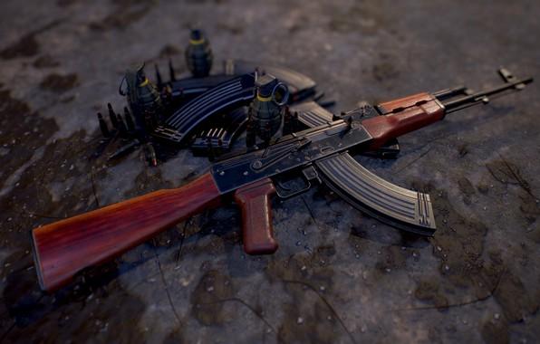 Картинка рендеринг, оружие, gun, weapon, render, Калашников, штурмовая винтовка, assault Rifle, Kalashnikov, акм, akm
