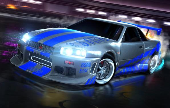 Картинка Nissan, skyline, ниссан, скайлан, R34, Nissan Skyline GT-R, 1999, Rocket League