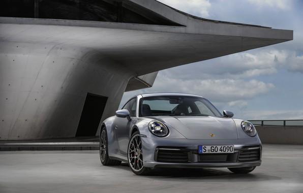 Картинка здание, купе, 911, Porsche, Carrera 4S, 992, 2019