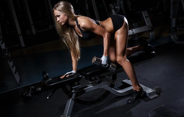 Картинка девушка, спорт, фигура, гантели