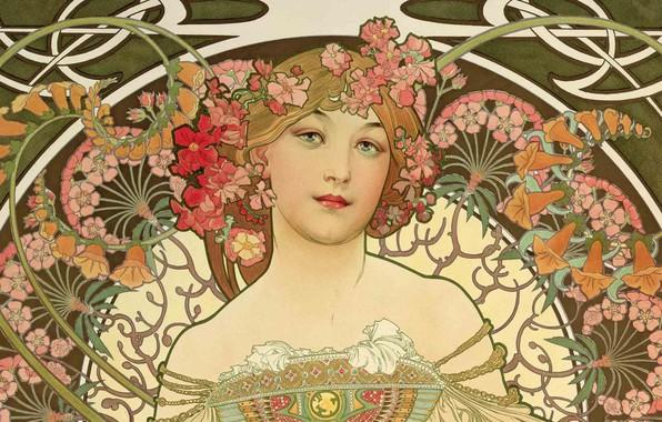 Картинка рисунок, живопись, композиция, женские образы, Альфонс Муха, Alfons Maria Mucha, красавица с цветами