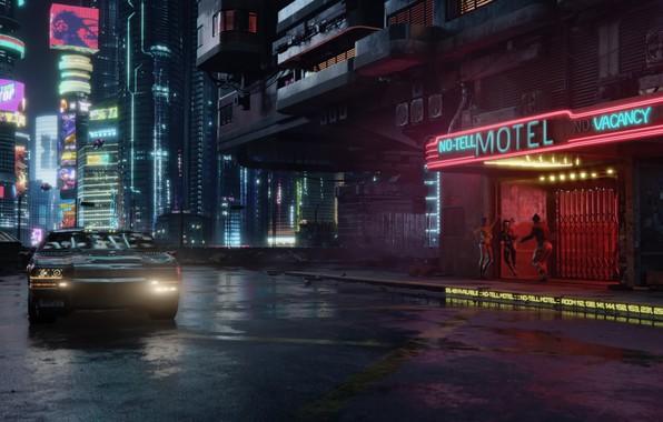 Картинка будущее, киберпанк, видеоигра, CD Projekt RED, Cyberpunk 2077, CD PR