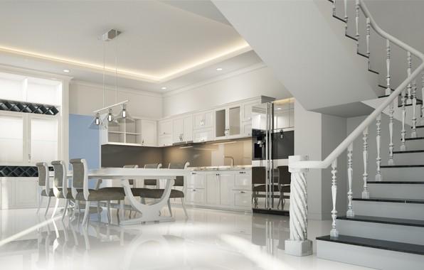 Картинка дизайн, дом, мебель, интерьер, кухня, лестница, столовая