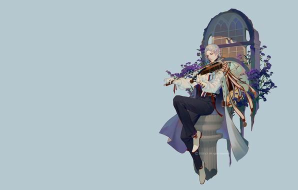 Картинка музыка, фентези, скрипка, арт, парень, LY 炼 妖, 勿忘 我