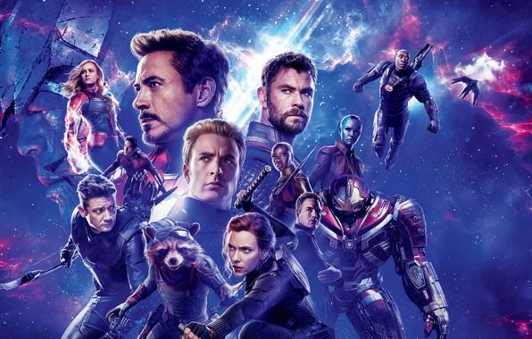Картинка космос, фон, фантастика, Scarlett Johansson, Скарлетт Йоханссон, Hulk, постер, персонажи, Nebula, Iron Man, комикс, Captain …