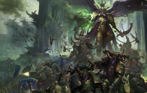 Картинка demon, chaos, war, space marines, battle, Ultramarines, Warhammer 40 000, Death Guard, plague, Nurgle, primarch, …