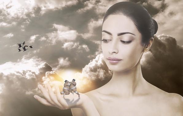 Картинка небо, облака, утки, сепия, азиатка, борцы, фотоманипуляция, сумо, рукa, девушка art