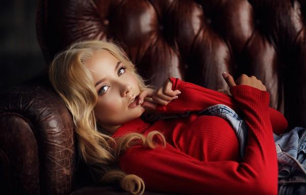 Картинка взгляд, Девушка, блондинка, лежит, Dmitry Arhar, Катерина Ширяева