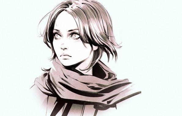 Картинка лицо, шарф, голубой фон, чёлка, портрет девушки, Илья Кувшинов