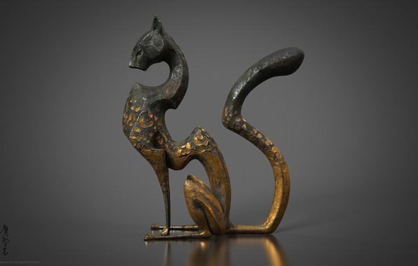 Картинка кот, металл, арт, фигурка, Cheetah, Kun Tang