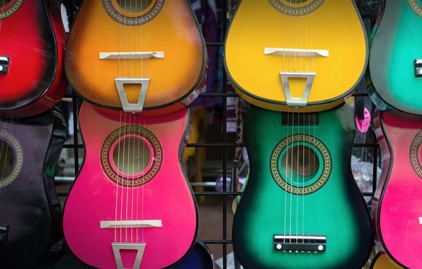 Картинка гитары, USA, разноцветные, рынок, Texas, San Antonio