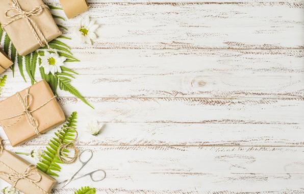 Картинка листья, цветы, праздник, подарок, хризантемы