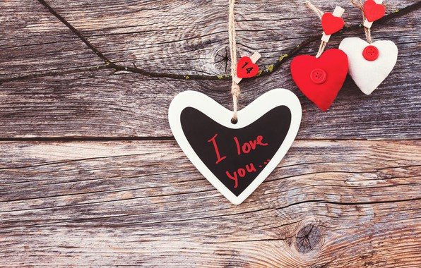 Картинка любовь, сердечки, love, I love you, wood, romantic, hearts, valentine's day