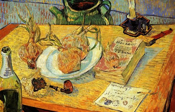 Картинка письмо, стол, свеча, спички, трубка, чайник, лук, книга, Vincent van Gogh, Pipe, шанпанское, Still Life ...